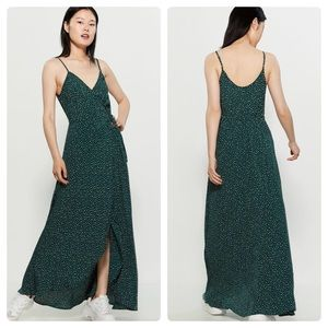 Band Of Gypsies Dakota Dot Wrap Maxi Dress Pine